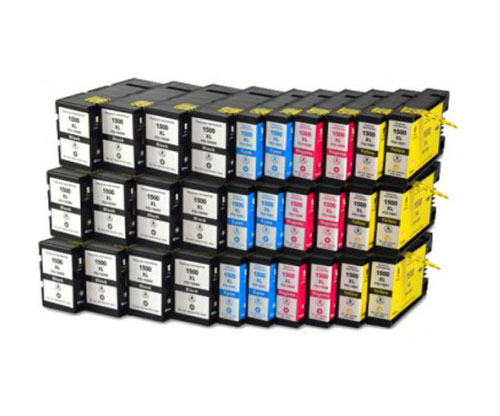 30 Tinteiros Compativeis, Canon PGI-1500 Preto 36ml + Cor 11.5ml