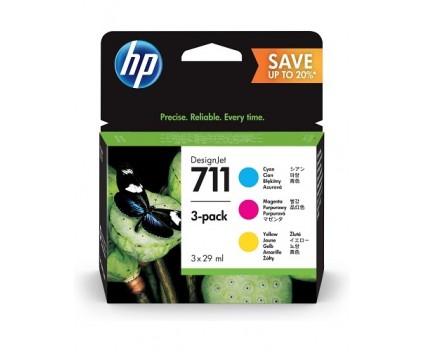 3 Tinteiros Originais, HP 711 Cores 29ml