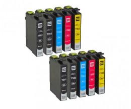 10 Tinteiros Compativeis, Epson T02W1 - T02W4 / 502XL Preto 9.2ml + Cor 6.4ml