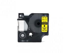 Fita Compativel DYMO 43618 Preto / Amarelo 6mm x 7m