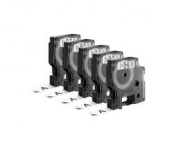 5 Fitas Compativeis, DYMO 45013 Preto / Branco 12mm x 7m
