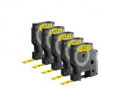 5 Fitas Compativeis, DYMO 40918 Amarelo 9mm x 7m
