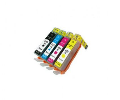 4 Tinteiros Compativeis, HP 655 Preto 22ml + Cor 13ml