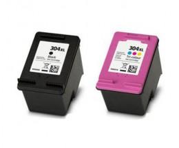 2 Tinteiros Compativeis, HP 304 XL Preto 20ml + Cor 18ml