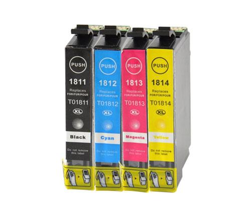 4 Tinteiros Compativeis, Epson T1811-T1814 / 18 XL Preto 17ml + Cor 13ml
