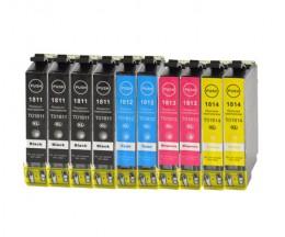 10 Tinteiros Compativeis, Epson T1811-T1814 / 18 XL Preto 17ml + Cor 13ml