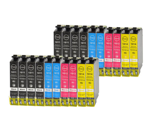 20 Tinteiros Compativeis, Epson T1811-T1814 / 18 XL Preto 17ml + Cor 13ml
