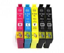 5 Tinteiros Compativeis, Epson T1631-T1634 / 16 XL Preto 17ml + Cor 11.6ml