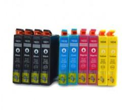 10 Tinteiros Compativeis, Epson T1631-T1634 / 16 XL Preto 17ml + Cor 11.6ml