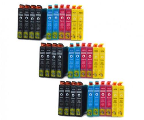 30 Tinteiros Compativeis, Epson T1631-T1634 / 16 XL Preto 17ml + Cor 11.6ml