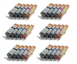 30 Tinteiros Compativeis, Canon PGI-525 / CLI-526 Preto 19.4ml + Cor 9ml