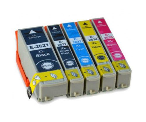 5 Tinteiros Compativeis, Epson T2621 / 26 XL Preto 26ml + T2631-T2634 Cor 13ml