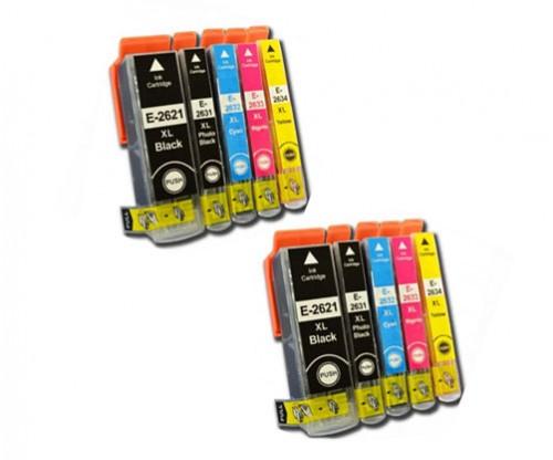 10 Tinteiros Compativeis, Epson T2621 / 26 XL Preto 26ml + T2631-T2634 Cor 13ml