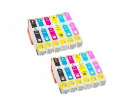 12 Tinteiros Compativeis, Epson T2431-T2436 / 24 XL Preto 13ml + Cor 13ml