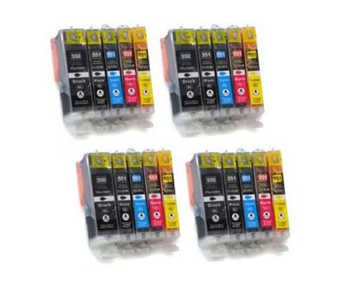 20 Tinteiros Compativeis, Canon PGI-550 XL / CLI-551 Preto 22ml + Cor 13ml