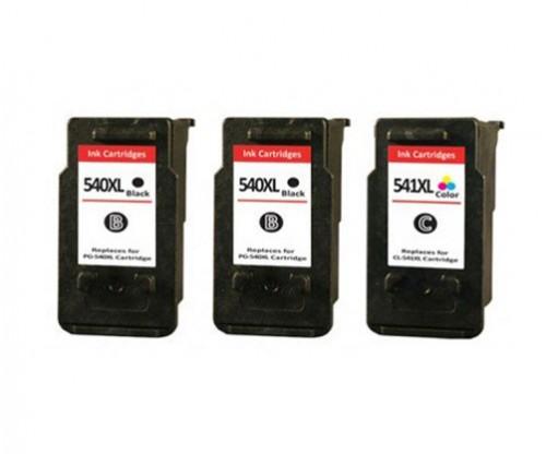 3 Tinteiros Compativeis, Canon PG-540 XL / CL-541 XL Preto 24ml + Cor 21ml