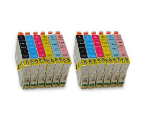12 Tinteiros Compativeis, Epson T0481-T0486 Preto 18ml + Cor 18ml
