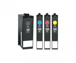 4 Tinteiros Compativeis, Lexmark 150 XL Preto 35ml + Cor 18ml