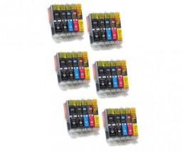 30 Tinteiros Compativeis, Canon PGI-550 XL / CLI-551 Preto 22ml + Cor 13ml