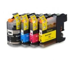 4 Tinteiros Compativeis, Brother LC-121 / LC-123 Preto 20.6ml + Cor 10ml