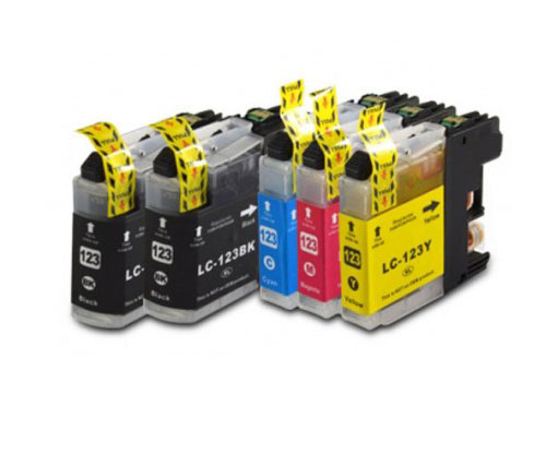 5 Tinteiros Compativeis, Brother LC-121 / LC-123 Preto 20.6ml + Cor 10ml