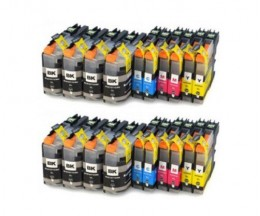 20 Tinteiros Compativeis, Brother LC-121 / LC-123 Preto 20.6ml + Cor 10ml