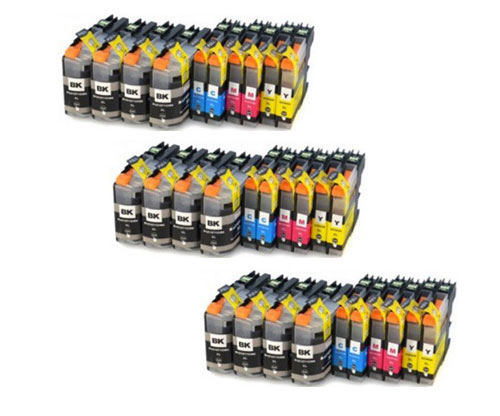 30 Tinteiros Compativeis, Brother LC-121 / LC-123 Preto 20.6ml + Cor 10ml