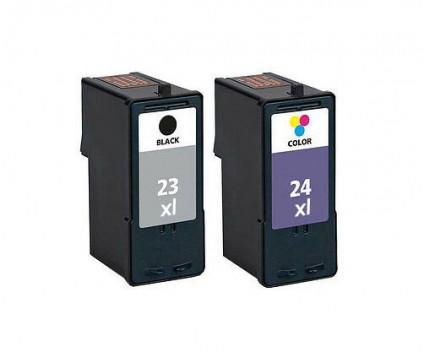 2 Tinteiros Compativeis, Lexmark 23 XL Preto 21ml + Lexmark 24 XL Cor 15ml