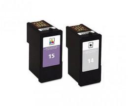 2 Tinteiros Compativeis, Lexmark 14 Preto 21ml + Lexmark 15 Cor 15ml