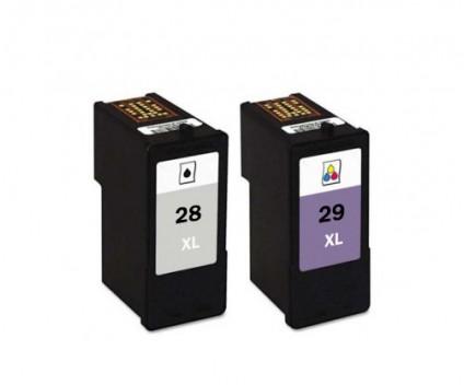 2 Tinteiros Compativeis, Lexmark 28 XL Preto 21ml + Lexmark 29 XL Cor 15ml