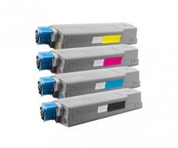 4 Toners Compativeis, OKI 4431530X Preto + Cor ~ 8.000 / 6.000 Paginas