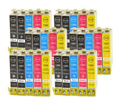 30 Tinteiros Compativeis, Epson T1281-T1284 Preto 13ml + Cor 6.6ml