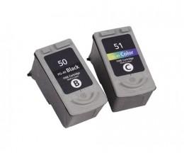 2 Tinteiros Compativeis, Canon PG-37 / PG-40 / PG-50 Preto 22ml + CL-38 / CL-41 / CL-51 Cor 21ml