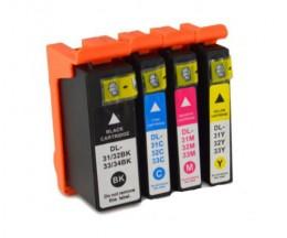4 Tinteiros Compativeis, DELL 31 / 32 / 33 / 34 Preto + Cor 28ml / 15ml