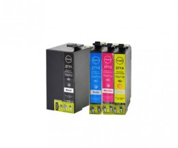 4 Tinteiros Compativeis, Epson T2701-T2704 / T2711-T2714 / 27 XL Preto 22.4ml + Cor 15ml