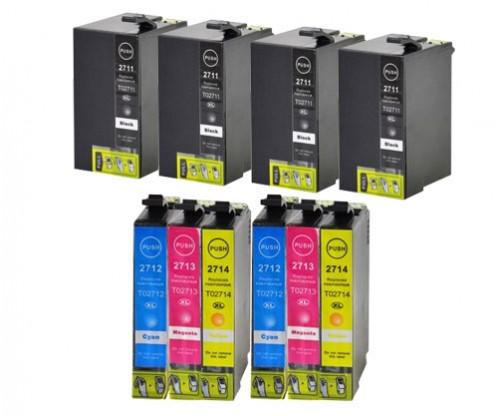 10 Tinteiros Compativeis, Epson T2701-T2704 / T2711-T2714 / 27 XL Preto 22.4ml + Cor 15ml