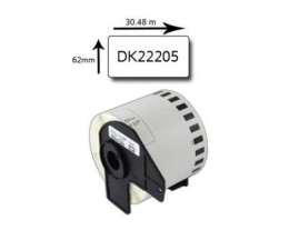 Etiqueta Compativel Brother DK22205 62mm x 30.48m Rolo Branco
