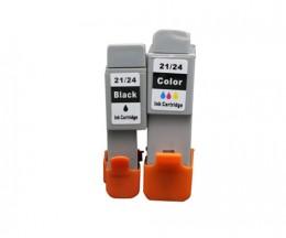 2 Tinteiros Compativeis, Canon BCI-21 / BCI-24 Preto 9.2ml + Cor 12.6ml