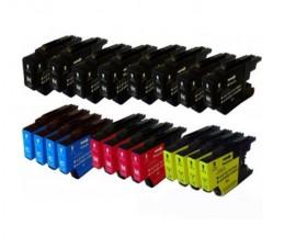 20 Tinteiros Compativeis, Brother LC-1220 / LC-1240 / LC-1280 Preto 32.6ml + Cor 16.6ml