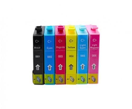 6 Tinteiros Compativeis, Epson T0801-T0806 Preto 13ml + Cor 13ml