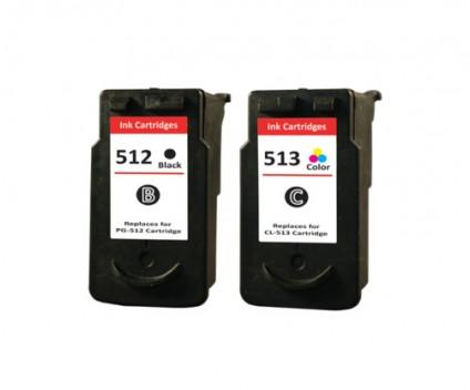 2 Tinteiros Compativeis, Canon PG-510 / PG-512 Preto 16ml + CL-511 / CL-513 Cor 14.5ml