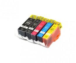 5 Tinteiros Compativeis, Canon PGI-520 Preto 19.4ml + CLI-521 Cor 9ml