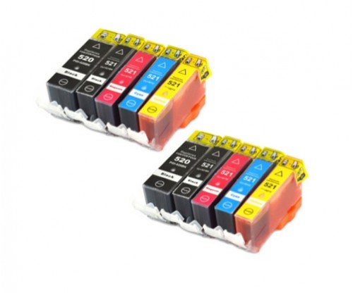 10 Tinteiros Compativeis, Canon PGI-520 Preto 19.4ml + CLI-521 Cores 9ml