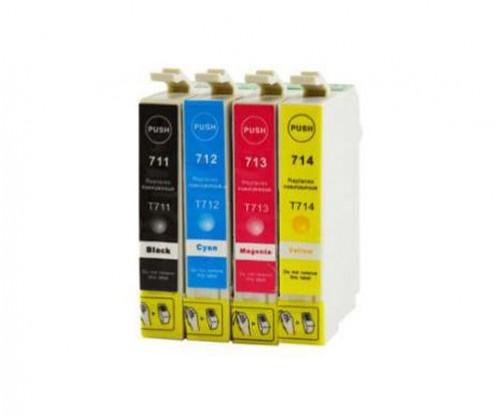 4 Tinteiros Compativeis, Epson T0711-T0714 Preto 13ml + Cor 13ml