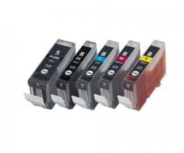 5 Tinteiros Compativeis, Canon PGI-5 / CLI-8 Preto 26.8ml + Cor 13.4ml