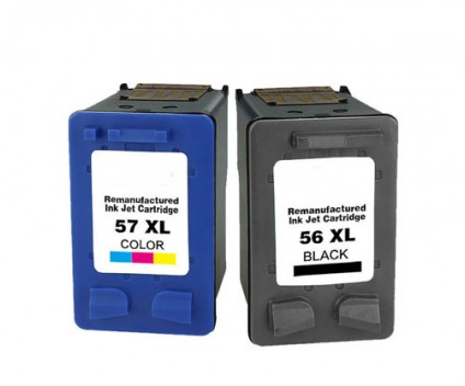 2 Tinteiros Compativeis, HP 57 XL Cor 18ml + HP 56 XL Preto 22ml