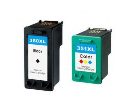 2 Tinteiros Compativeis, HP 351 XL Cor 18ml + HP 350 XL Preto 25ml