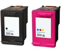 2 Tinteiros Compativeis, HP 300 XL Preto 20ml + Cor 18ml