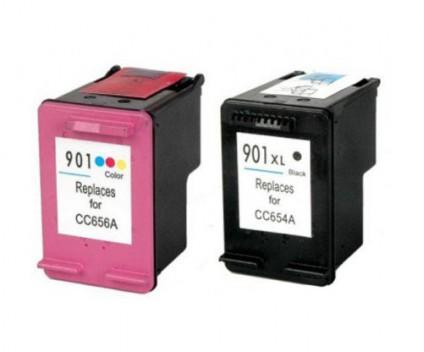 2 Tinteiros Compativeis, HP 901 XL Preto 20ml + Cor 18ml