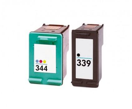 2 Tinteiros Compativeis, HP 344 Cor 18ml + HP 339 Preto 25ml